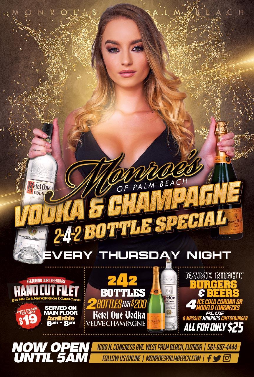 Monroes Champagne Thursdays 2-4-2 Bottles