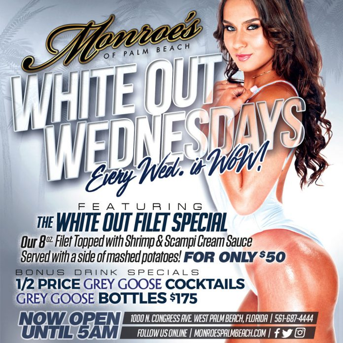White Out Wednesdays at Monroe's Palm Beach